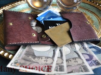 イタリアンレザー・革新のプエブロ・コンパクト2つ折り財布(ショコラ)の画像