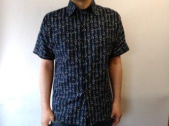 半袖和柄ムラ糸クロスシャツ(いろはにほへと)の画像