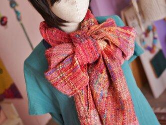 手織り ボリュームストール 春夏の画像
