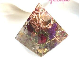オルゴナイト まん丸タイガーアイタンブル 金運 ピラミッドの画像
