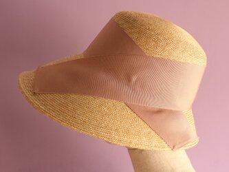 広つばの麦わら帽子 Cecil セシル ピンクべージュの画像