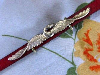 真鍮ブラス製 鶴(つる)デザイン帯留め 着物や浴衣の帯締め飾り・ブレスレット飾りにの画像