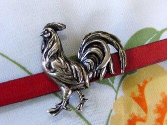 真鍮ブラス製 神鶏イメージ帯留め 着物や浴衣の帯締め飾りの画像