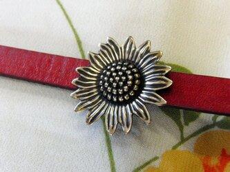 真鍮ブラス製 ひまわりイメージ花型帯留め 着物や浴衣の帯締め飾りの画像