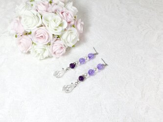 【1点のみ】紫のクラックビーズとガラスビーズのピアス〔134-1〕の画像