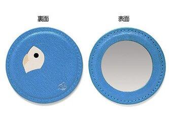 コザクラインコのラウンドミラー ブルー×ホワイト[受注生産品]の画像