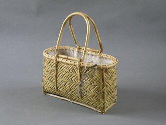 竹籠バッグ かごバッグ 網代編み 根曲り竹の画像