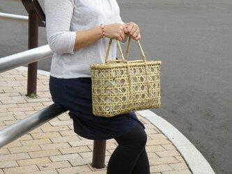 竹籠バッグ かごバッグ 八つ目編み 根曲り竹 エコな生活の画像