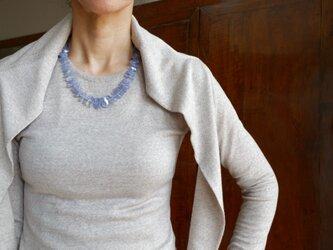 ヒヤシンスブルー!ブルーカルセドニーのショートネックレスの画像