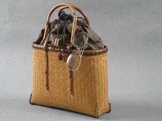 竹籠バッグ かごバッグ 燻煙竹 巾着の画像