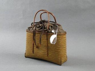 竹籠バッグ かごバッグ 網代編み 波網代 巾着の画像