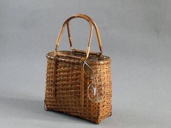 受注制作 竹籠バッグ かごバッグ ざる編み 根曲り竹 煤竹 燻煙千島笹の画像