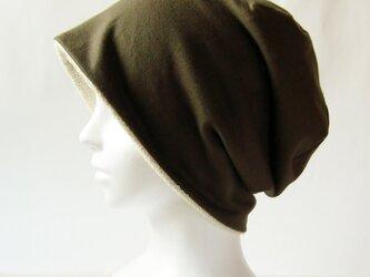 ゆるいリバーシブル帽子 カーキ/生成りタオル  (CSR-012-K)の画像