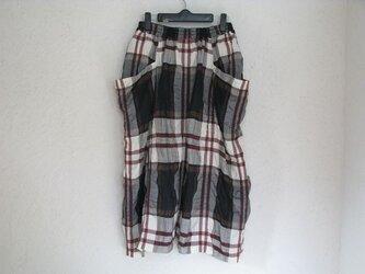 国産リネン大柄チェック変形スカートの画像