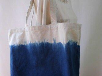 藍染め(海色)絞り染め・トートバッグ・丈夫なキャンバス生地の画像