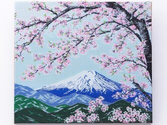 ファブリックパネル 桜と富士山の画像