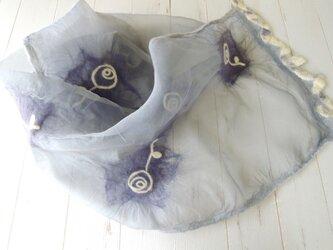 ふんわりシルクと羊毛ストール *ローズ*ライトグレーの画像