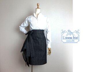 <N様ご予約>サイドタックのデニムスカート ブラックストライプの画像