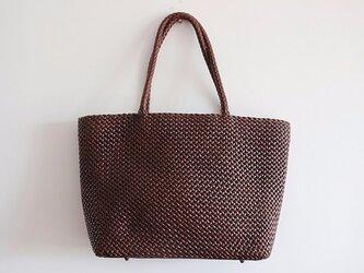 【受注製作】手編み牛革ショルダトートバッグしっかりとした編み込み FB228の画像
