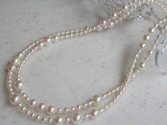 あこや真珠デザインロングネックレス (4mm~8.5mm珠102cm)の画像