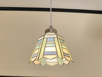 ボーダー(ステンドグラスペンダントライト)天井のおしゃれガラス照明 Lサイズ・19の画像