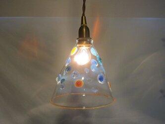 耐熱ガラスのランプシェード 9 ドットクリアの画像