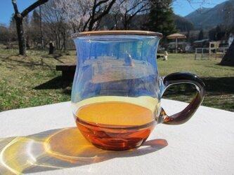 耐熱ガラスのマグカップ 2 オレンジブルーの画像