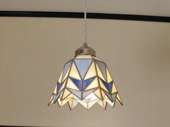 三角幾何学模様A(ステンドグラスペンダントライト)吊り下げ照明・ガラス  Lサイズ・(コード長さ調節可)20の画像