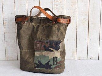 チェコ軍シーサックリネンのトートバッグ/アメリカカモポケットの画像