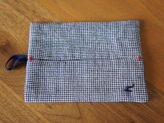 ポッケットティッシュケース  n紺×赤の画像