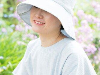 Organic Cotton  日よけ帽【薄手ヘリンボーン生地/水色】の画像