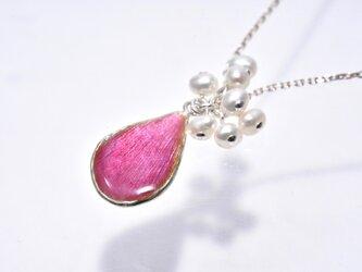 七宝ネックレス -花びら-ピンク/silver925・淡水パールの画像