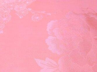 正絹長襦袢地 はぎれ【草花模様織り出し】サーモンピンク 100cm(058の画像