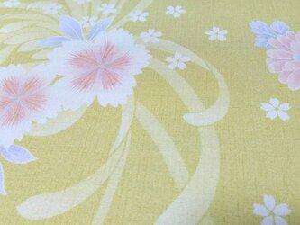 正絹長襦袢地 はぎれ【花模様】辛子色 50cm(062の画像