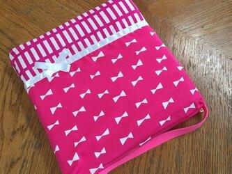 防災頭巾カバー リボン ピンク ♪♪♪の画像