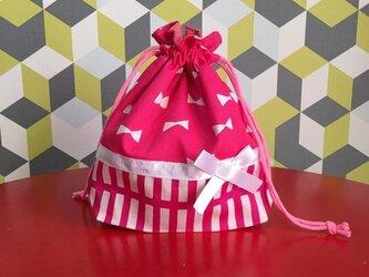 コップ袋 リボン ピンク ♪♪♪の画像