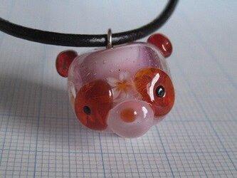 とんぼ玉 パンダ型花玉(赤)の画像