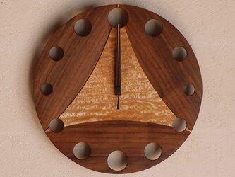 無垢の木の電波掛け時計 たも ブラックウォールナット 0003の画像