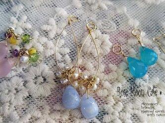 天然石チャームセット☆ブルーレースピンクカルセドニーシーブルーカルセドニーの画像