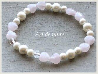 [spring sale]桜色ハートリボン ローズクォーツ& 貝パールの ブレスレットの画像