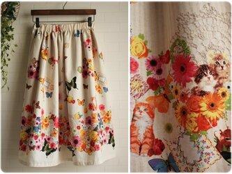 期間限定sale 送料無料 裏地つき ベージュ ストライプ ウエストゴム スカート 花柄 猫 鳥 蝶の画像