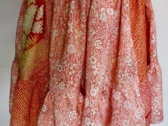 送料無料 花柄の着物と絞りで作ったミニスカート 3396の画像