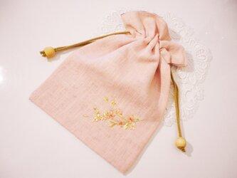 桜デザイン刺繍入り巾着の画像