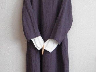 リネンの8分袖ワンピース パープルの画像