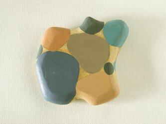 木彫り手鏡 さ・い・ぼ・う(ブルー&グレー)floatの画像