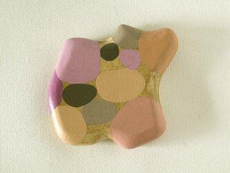 木彫り手鏡 さ・い・ぼ・う(ピンク&グレー)floatの画像