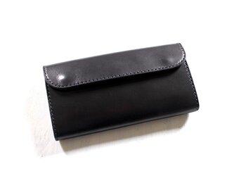 【受注生産品】フラップ長財布 ~栃木ブラックサドル オールブラック~の画像