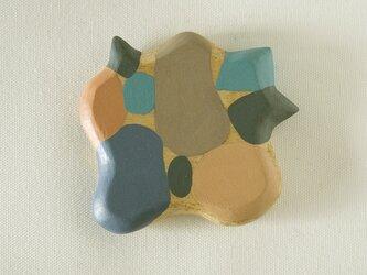 木彫り手鏡 さ・い・ぼ・う(ブルー&グレー)growの画像