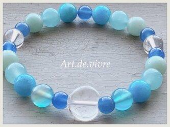 [spring  sale]マーメイドブルーの天然石ブレスレットの画像