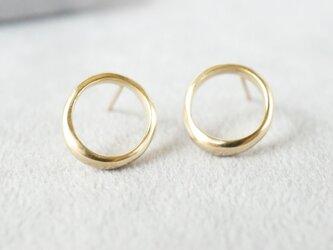 K18 Moon halo earrings / Smallの画像